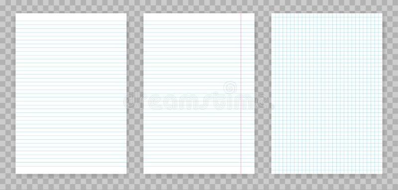 Kvadrerade och fodrade pappers- ark av anteckningsboken eller förskriftsboken Ställde det realistiska pappers- arket in för vekto royaltyfri illustrationer