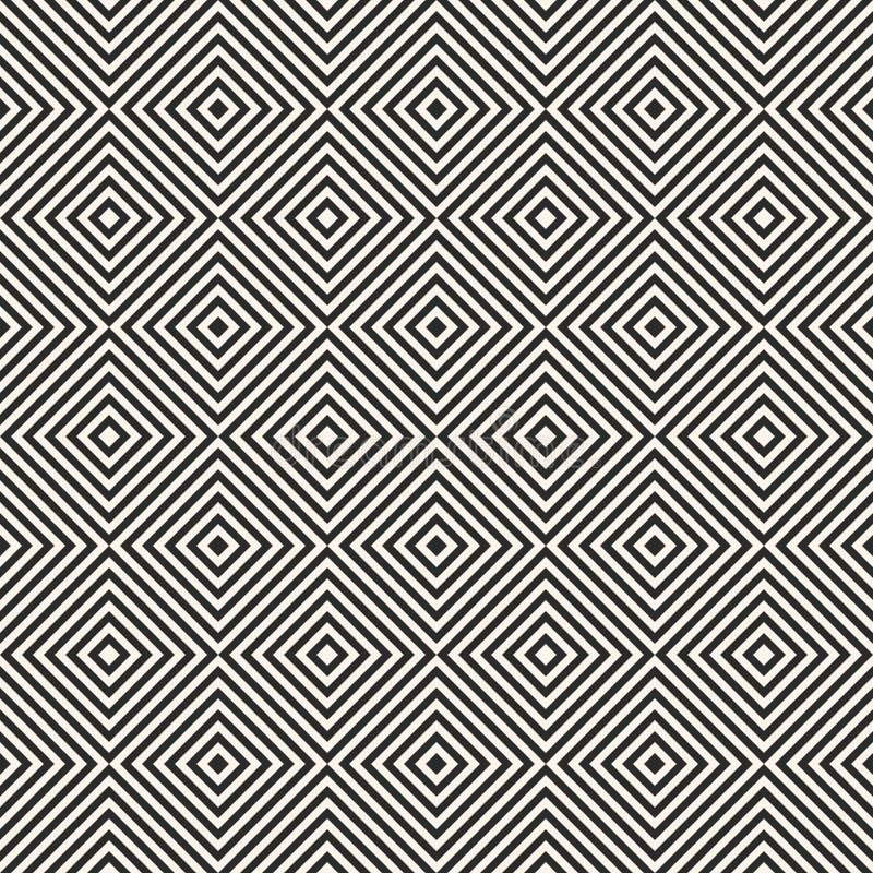 Kvadrerar den geometriska modellen Sömlös textur för randig vektor Art d?costil vektor illustrationer