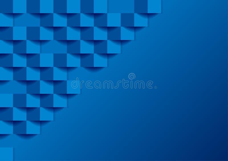 Kvadrerar den geometriska mosaiken 3d för blå tech abstrakt bakgrund royaltyfri illustrationer