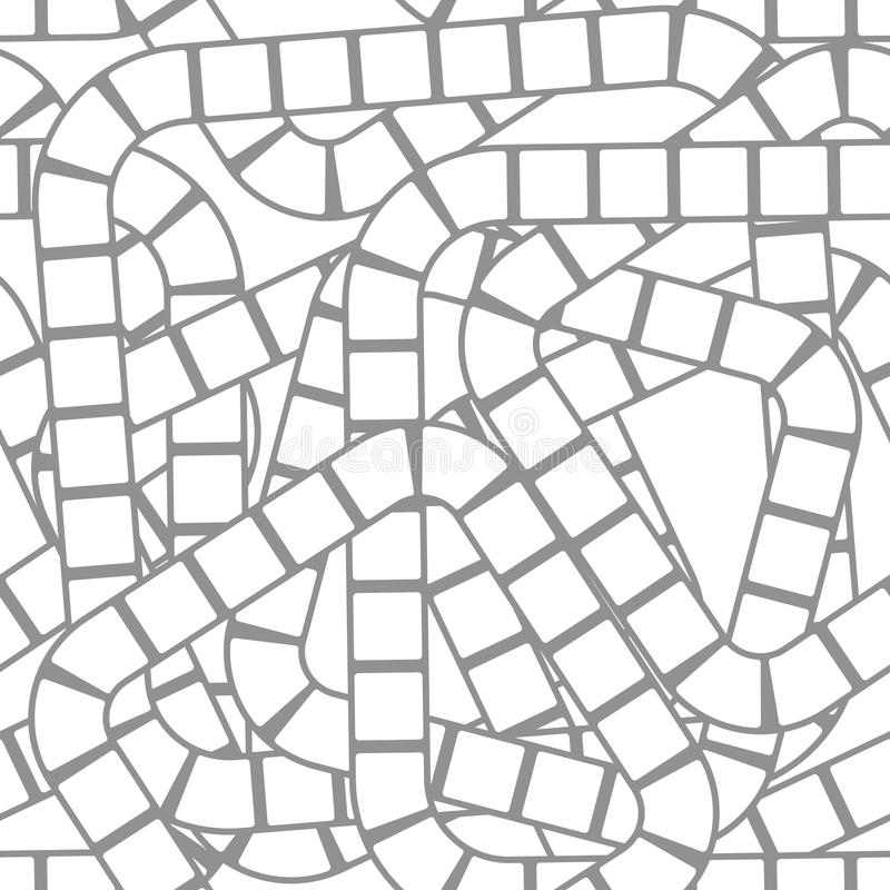 Kvadrerar den sömlösa modellmallen för abstrakt futuristisk labyrint för lekar för barn` s, grå färger på vit bakgrund för platse royaltyfri illustrationer