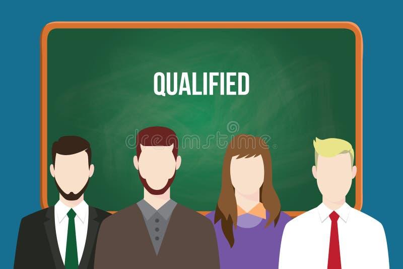 Kvalificerad kandidatillustrationvektor med vit text på grönt bräde stock illustrationer