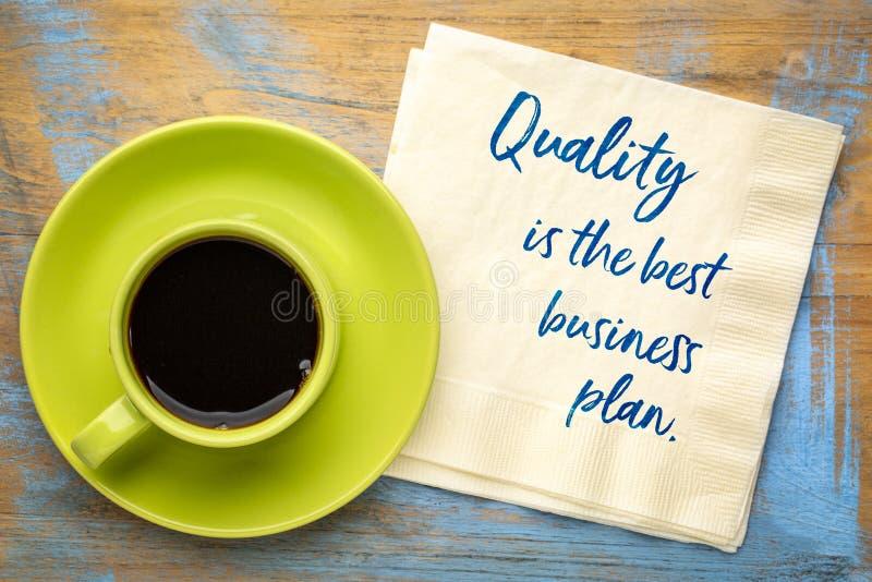 Kvalitet är det bästa affärsplanet royaltyfri bild