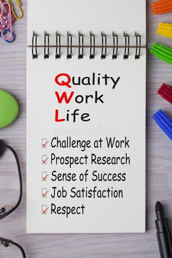 Kvalitet av arbetslivbegreppet royaltyfria bilder