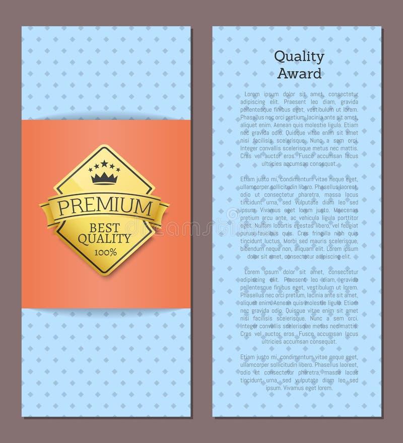Kvalitets- etikett för kvalitet 100 för utmärkelse högvärdiga bästa guld- stock illustrationer