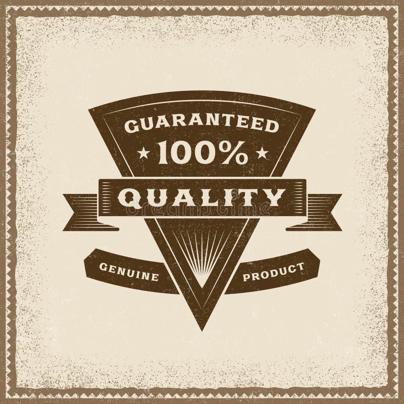 Kvalitets- etikett för tappning 100% vektor illustrationer