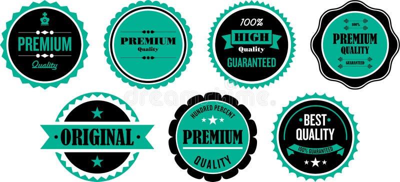 Kvalitets- förseglar eller klistermärkear vektor illustrationer