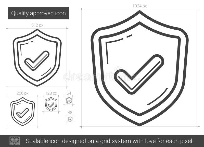 Kvalitets- godkänd linje symbol vektor illustrationer