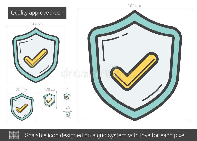 Kvalitets- godkänd linje symbol royaltyfri illustrationer