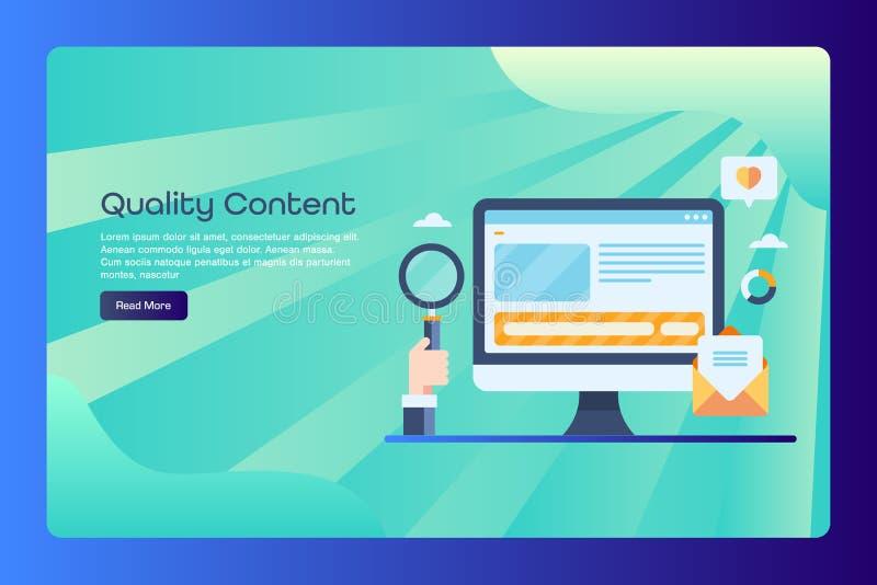 Kvalitets- innehåll, presentation, bloggstolpe, blogging, nöjd seo och digital marknadsföra mall för begreppsrengöringsdukbaner,  stock illustrationer
