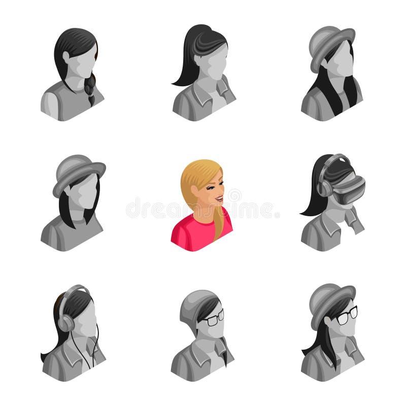 Kvalitets- Isometry, 3D aktiv härlig blond flicka, fastställda avatars, uppsättningar av non aktiva olika avatars för sociala nät stock illustrationer