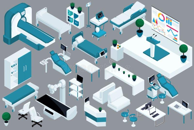 Kvalitets- Isometry, 3D medicinska apparater, sjukhussäng, MRI, röntgenstrålebildläsare, ultraljudbildläsare, tand- stol, fungera royaltyfri illustrationer