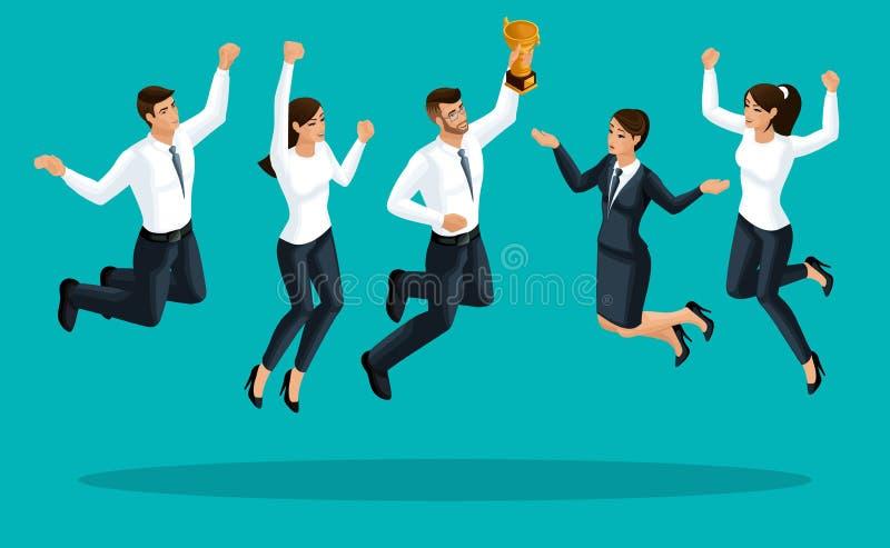 Kvalitets- Isometry, damer för affär 3d och affärsmän är lyckliga, och hoppa, mottas priset av det eniga laget är lyckligt royaltyfri illustrationer