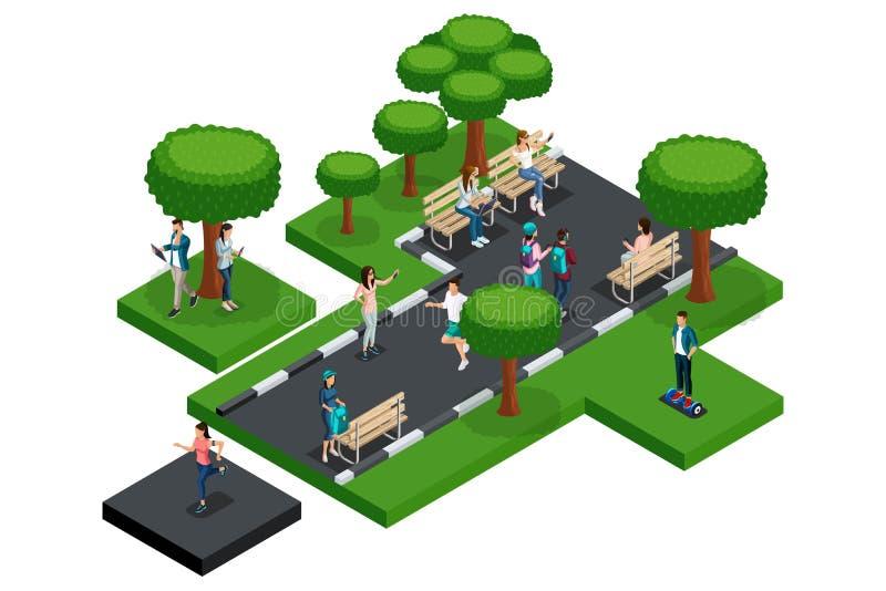 Kvalitets- Isometry, del av parkerar med bänkar, träd tonåringar Folket vilar, motsvarar med de vektor illustrationer