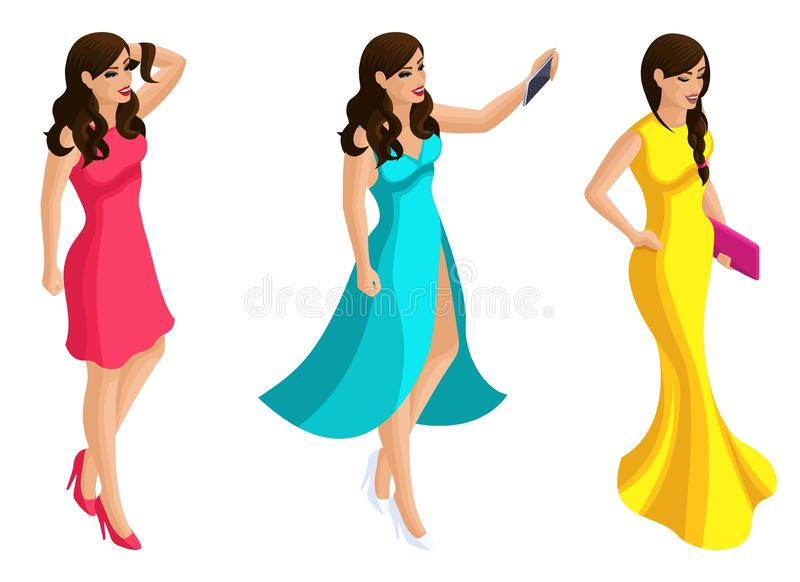 Kvalitets- Isometry, den härliga flickan 3D i aftonklänningar med aftonmakeup, pastischer, gör selfie, flickamodell stock illustrationer