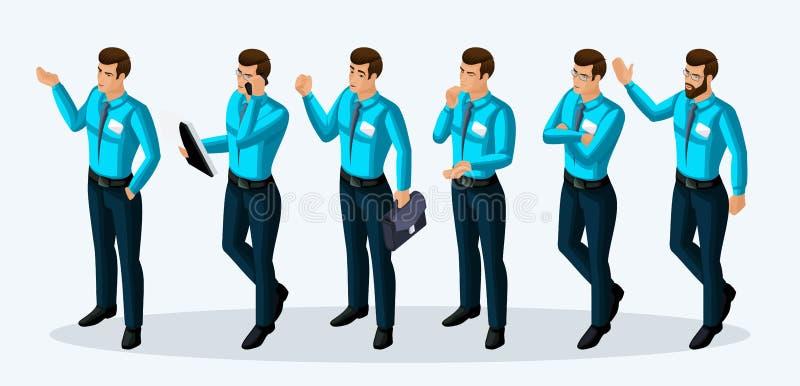 Kvalitets- Isometry, företags livsstil för män 3D, special kläder, chefer, entusiasm Lagande, lusten att uppnå målet vektor illustrationer