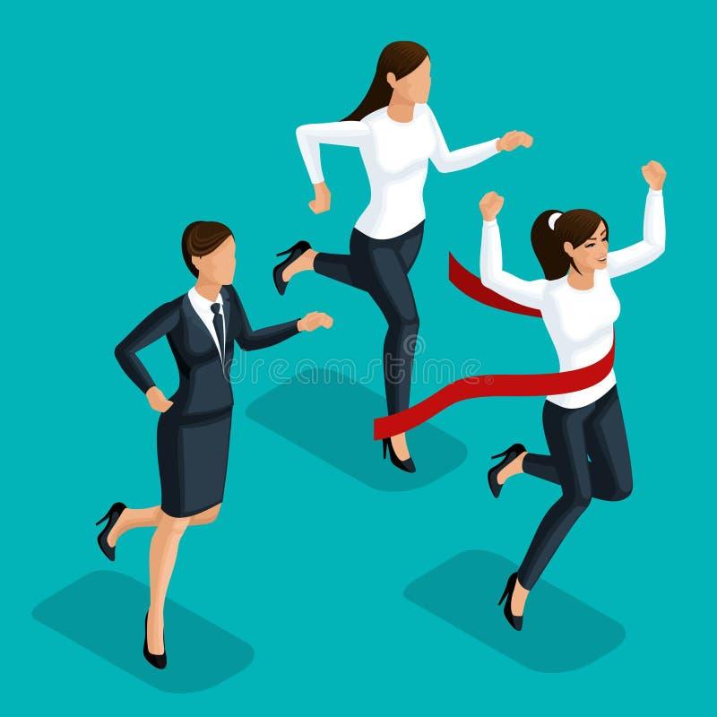 Kvalitets- Isometry, kvinnor för affär 3D slåss för ledarskap och att köra för mästerskapet som slåss i affär royaltyfri illustrationer