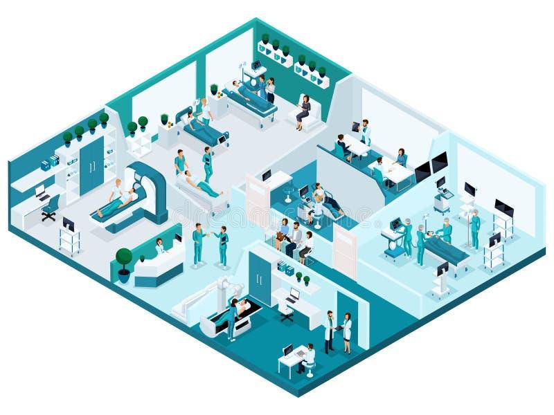 Kvalitets- Isometry, processen av sjukhuset, de detaljerade teckenen och begreppet för medicinsk utrustning för annonsering och p vektor illustrationer
