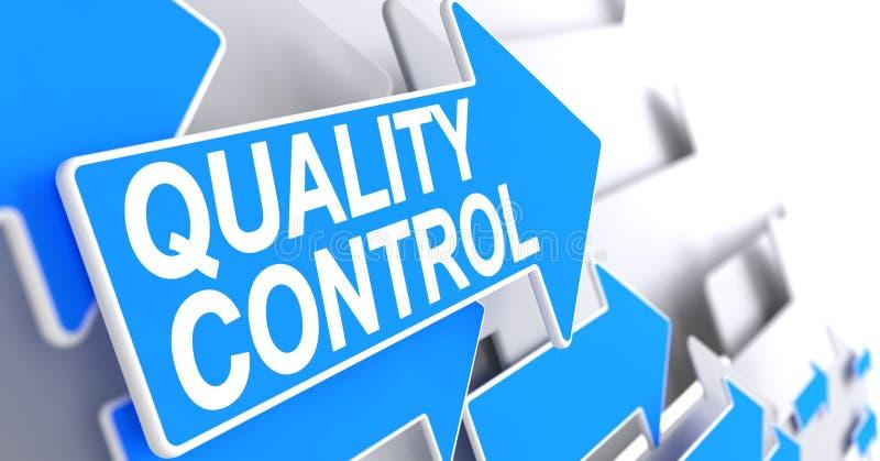 Kvalitets- kontroll - meddelande på den blåa pekaren 3d vektor illustrationer