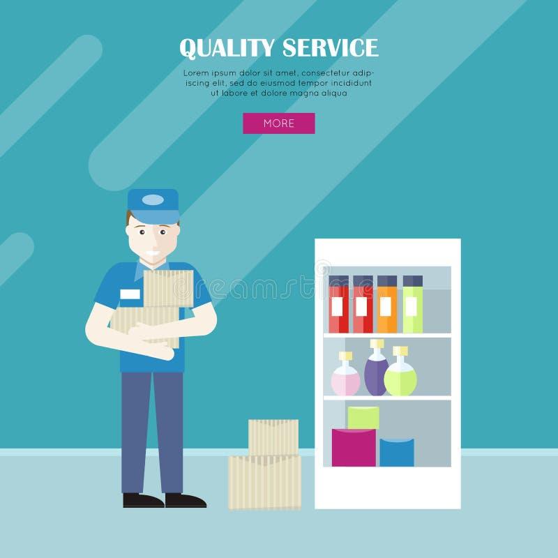 Kvalitets- service i baner för speceriaffärvektorrengöringsduk royaltyfri illustrationer