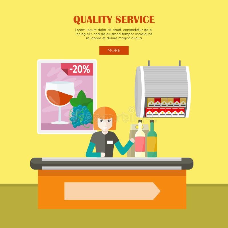 Kvalitets- service i baner för supermarketvektorrengöringsduk stock illustrationer