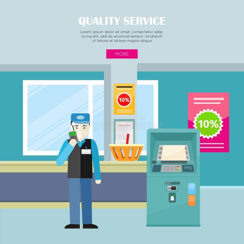Kvalitets- service i baner för supermarketvektorrengöringsduk vektor illustrationer