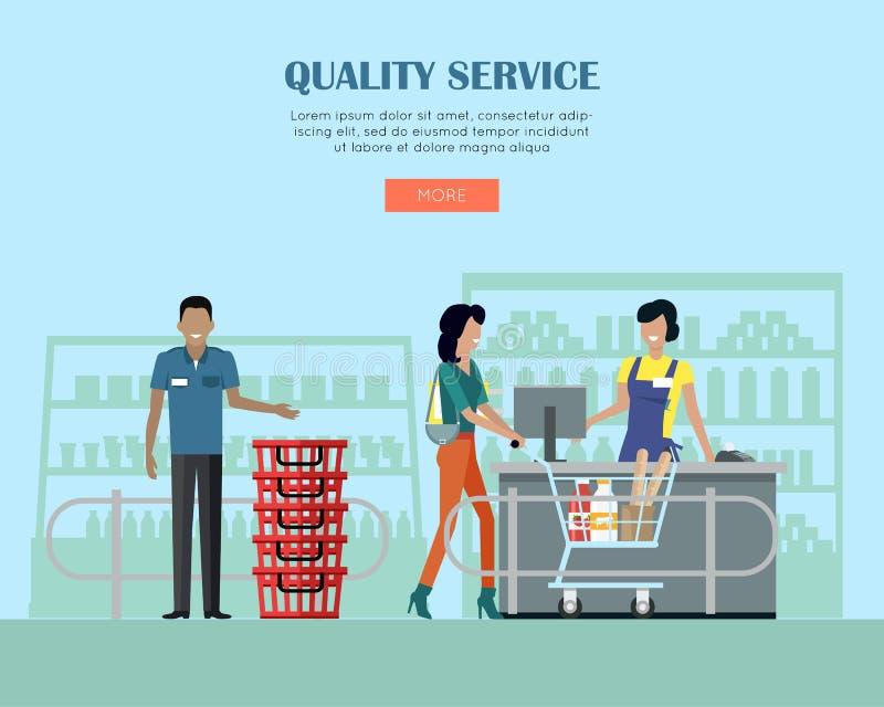 Kvalitets- service i supermarketbegreppsbaner stock illustrationer