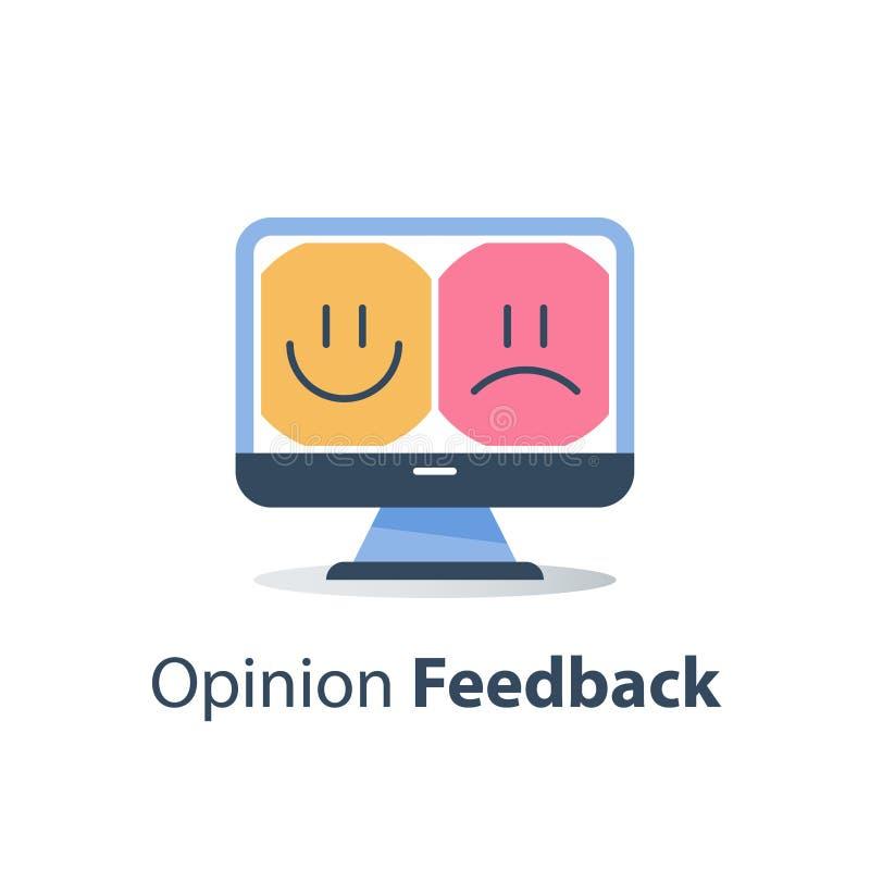 Kvalitets- utvärdering för service, online-lycklig eller olycklig för erfarenhet, bra eller dålig återkopplingsgranskning för gra stock illustrationer