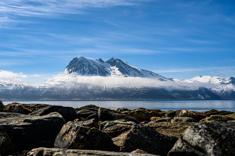 Kvaloya in Troms, Noord-Noorwegen stock foto