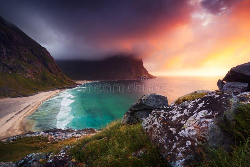 Download Kvalvika-Strand In Norwegen Stockbild - Bild: 104025879
