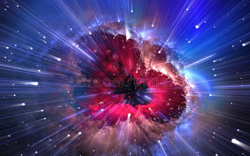 Kvantfysik, tidkvantlopp Nanocosmos nanoworld royaltyfri illustrationer