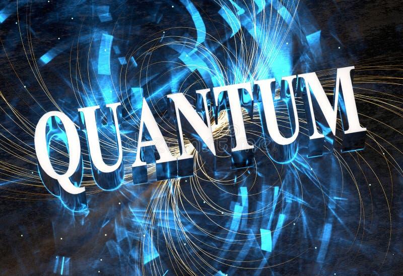 Kvantord i metall med ljus effekt för blåa caustics stock illustrationer