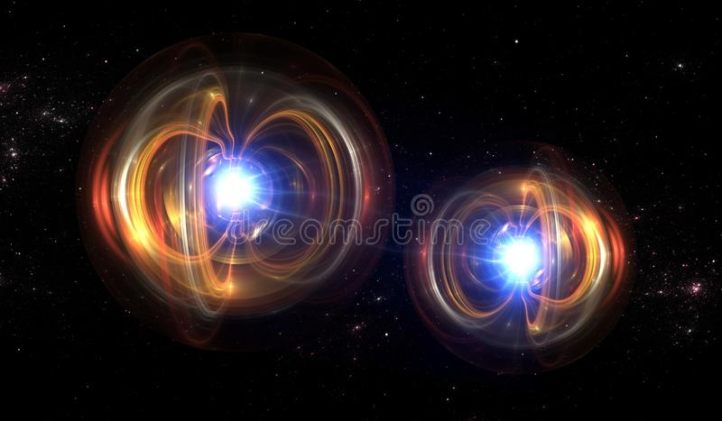 Kvantpartikel, kvantmekaniker vektor illustrationer
