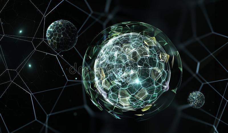 Kvantvärld, kvantmekaniker stock illustrationer