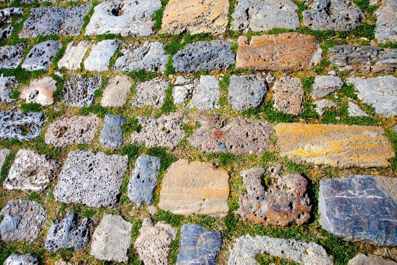 Kvarleva av forntida trottoar arkivfoto