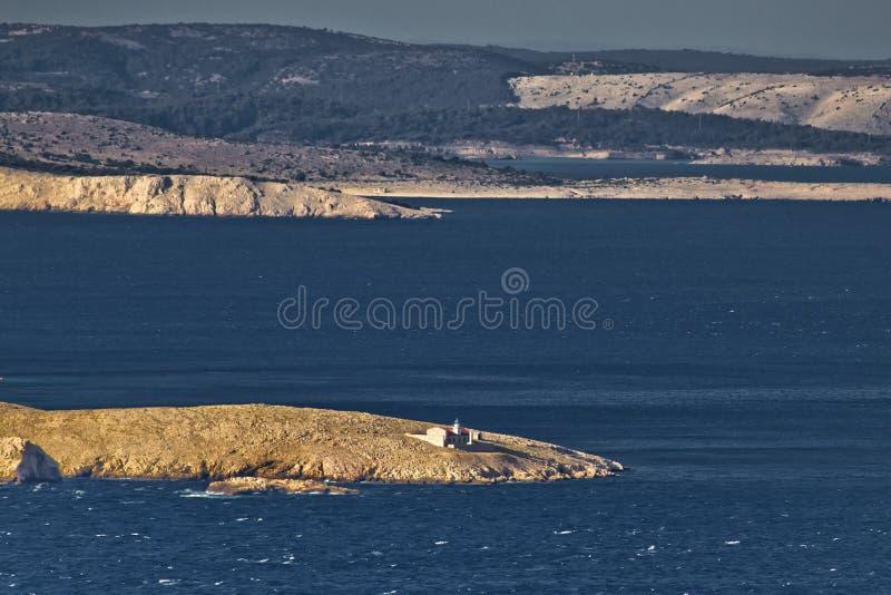 Kvarner bay islands and Prvic lighthouse stock image