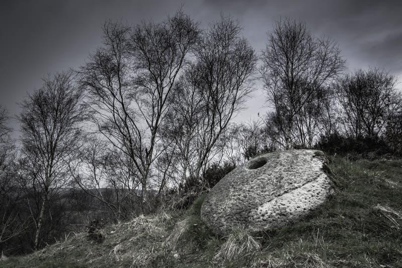 Kvarnsten i Derbyshire, UK arkivfoto