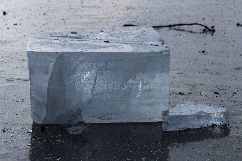 Kvarter av is på sjön i centrala Polen arkivbilder