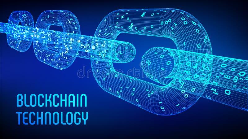 Kvarterkedja Crypto valuta Blockchain begrepp kedja för wireframe 3D med digital kod Redigerbar Cryptocurrency mall materiel ve royaltyfri illustrationer