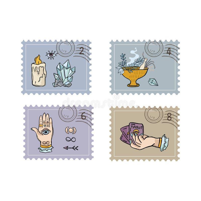 Kvarts Crystal Magic Postage Stamps tecknad hand stock illustrationer