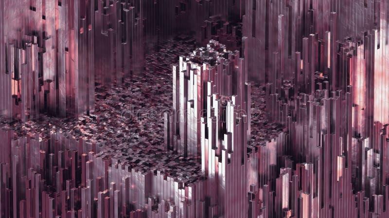 kvarts för abstrakt begrepp för tolkningen 3D blockerar rosa bakgrund med skinande reflexion stock illustrationer