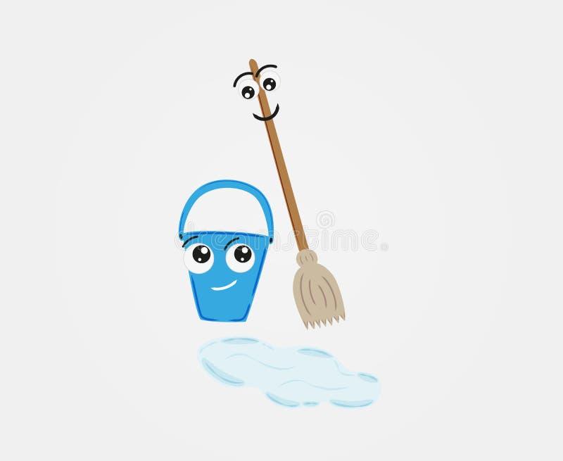 Kvast och hink med vatten på golvet stock illustrationer