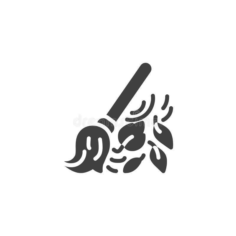 Kvast- och sidavektorsymbol royaltyfri illustrationer