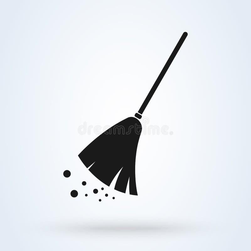 Kvast som gör ren för symbolsdesign för enkel vektor den moderna illustrationen royaltyfri illustrationer