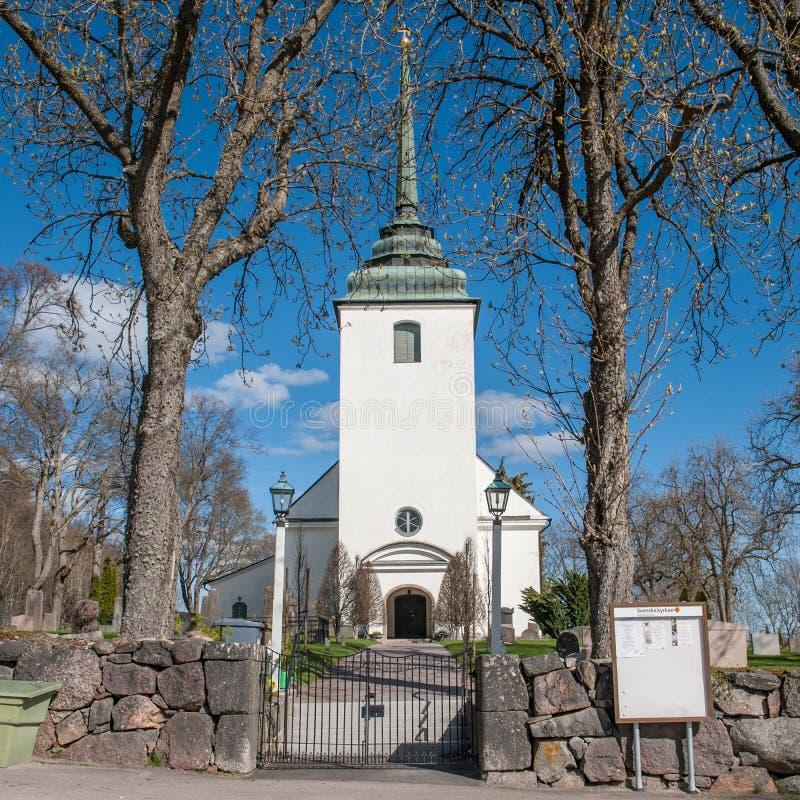 Kvillinge kościół podczas wiosny w Szwecja fotografia royalty free