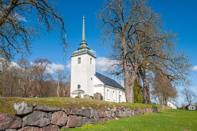 Kvillinge kościół podczas wiosny w Szwecja fotografia stock