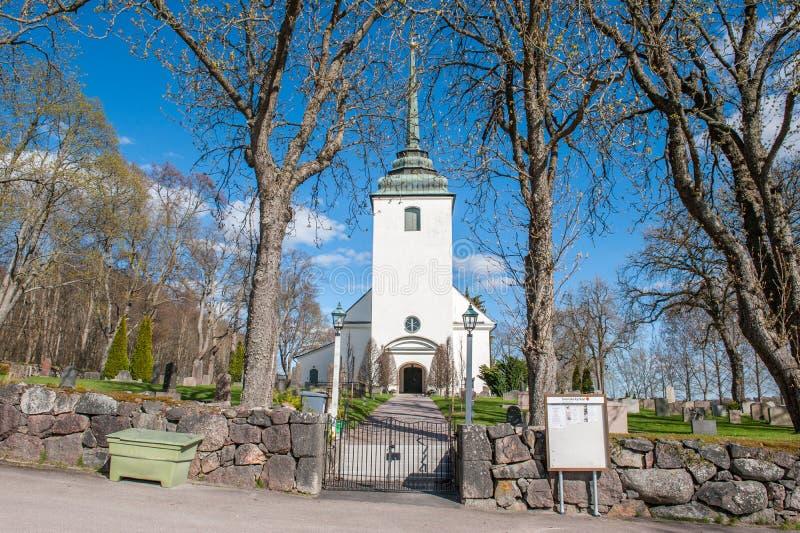 Kvillinge kościół podczas wiosny w Szwecja obraz royalty free