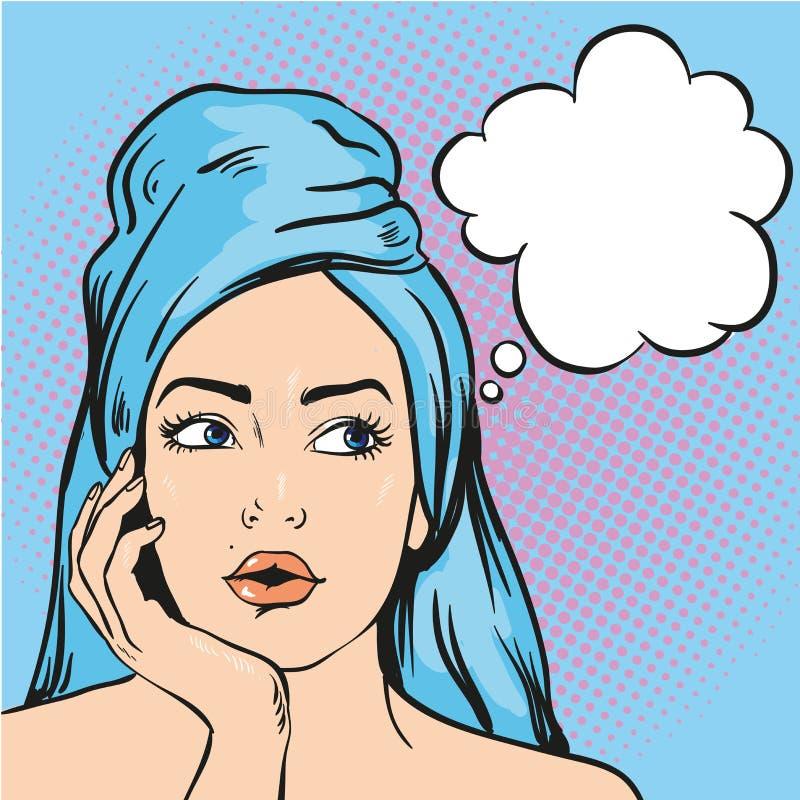 Kvinna efter en dusch som tänker om något Vektorillustration i komisk stil för popkonst stock illustrationer