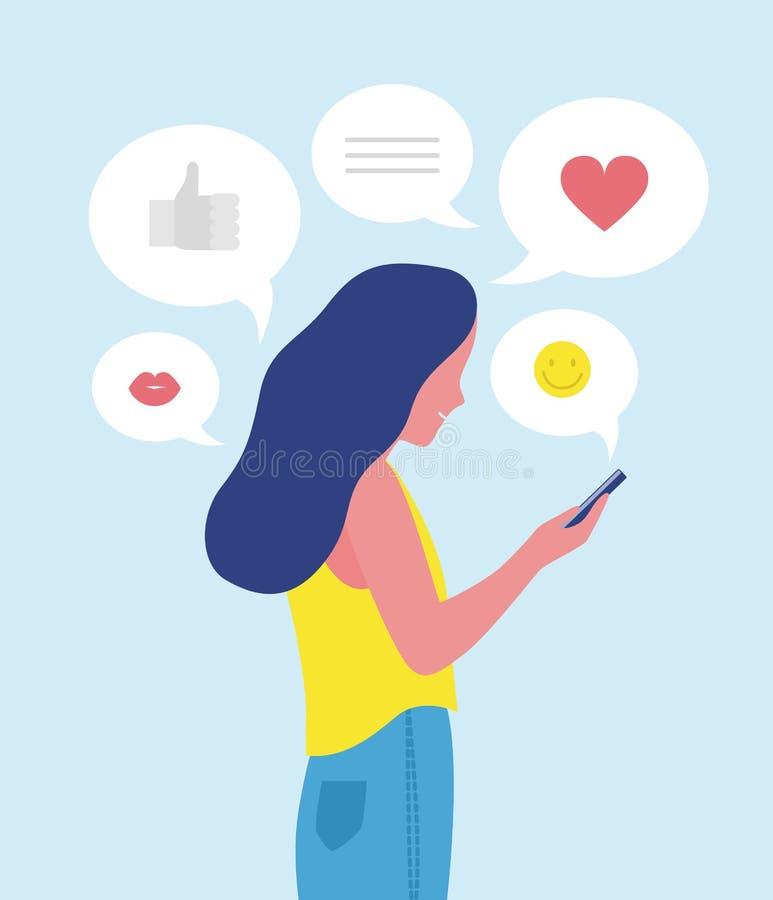 Kvinna eller flicka som överför och mottar internetmeddelanden på smartphonen eller smsar på mobiltelefonen Online-kommunikation  royaltyfri illustrationer