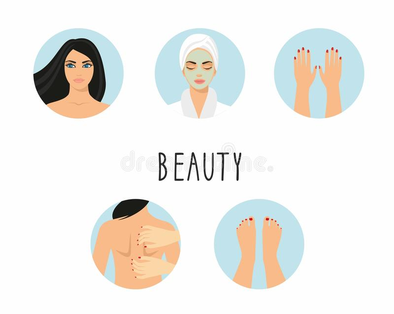 Kvinna en kvinna med den kosmetiska maskeringen på hennes framsida, kvinna med sminket, händer med manikyr, fot med manikyr royaltyfri illustrationer