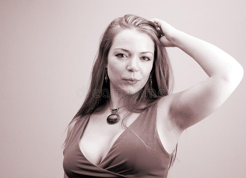 Kvinna För 5 Stående S Fotografering för Bildbyråer